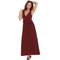 Shoespie Belt Sexy V Neck Plain Women's Maxi Dress
