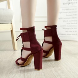 Shoespie Cross Strap Plain Dress Sandals