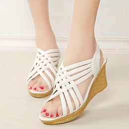 Shoespie Platform Plain Open Toe Platform Sandals