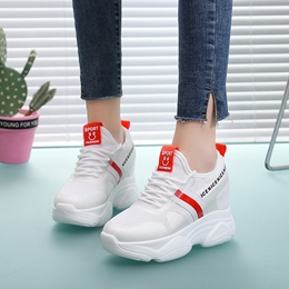 Shoespie Platform Lace-Up Mesh Sneakers