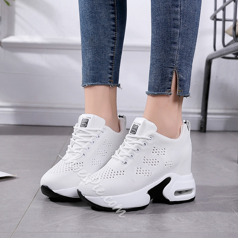 Shoespie Platform Plain Round Toe Mesh Sneakers