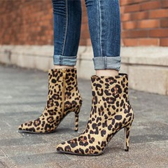 Shoespie Leopard Pointed Toe Leopard Ankle Boots
