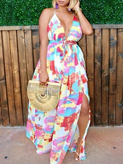 Shoespie Color Block Backless Country Women's Maxi Dress