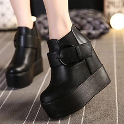 Shoespie Platform Buckle Round Toe Black Sneakers