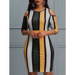 Color Block Pullover Hollow Women's Bodycon Dress