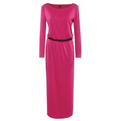 Shoespie Pink Round Neck Belt Fall Women's Maxi Dress