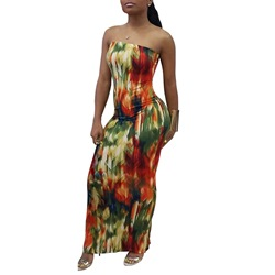 Color Block Backless Tie-Dye Women's Maxi Dress