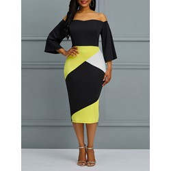 Shoespie Color Block Backless Women's Bodycon Dress