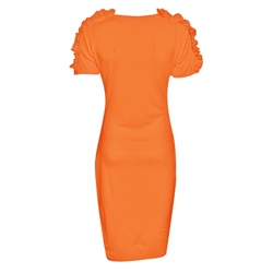 Shoespie Plain Sexy Orange Women's Bodycon Dress