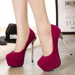 Shoespie Platform Plain Slip-On Platform Heels