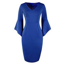Shoespie Plain Office Lady V Neck Women's Bodycon Dress