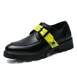 Shoespie Color Block Buckle Round Toe Oxfords