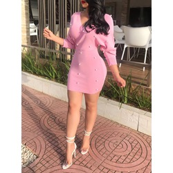 Shoespie Plain V Neck Bead Women's Bodycon Dress