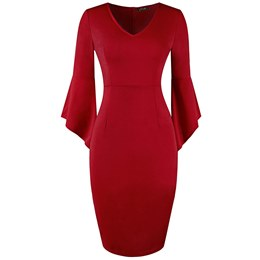 Shoespie V Neck Plain Office Lady Women's Bodycon Dress