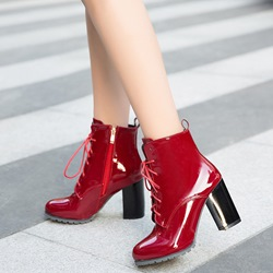 Shoespie Cross Strap Round Toe Side Zipper Ankle Boots