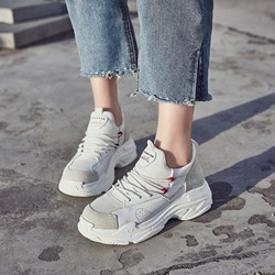 Shoespie Platform Patchwork Plain Sneakers