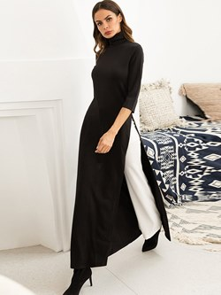 8a901d3d14b Shoespie Color Block Turtleneck Women s Maxi Dress
