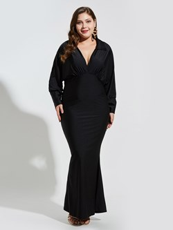 Shoespie Polyester V Neck Pleated Women's Maxi Dress