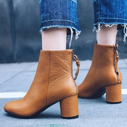 Shoespie Back Zip Plain Round Toe Ankle Boots