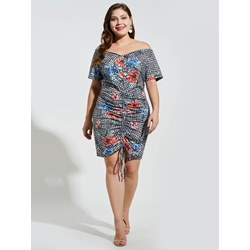 Shoespie Cotton Blends Print V Neck Women's Bodycon Dress