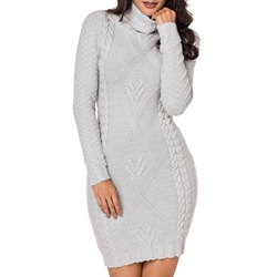 Shoespie Elegant Turtleneck Pullover Women's Bodycon Dress