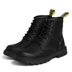 Shoespie Round Toe Plain Lace-Up Front Black Boots