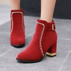 Shoespie Thread Buckle Back Zip Ankle Boots