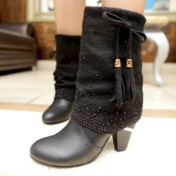 Shoespie Patchwork Plain Rhineston Ankle Boots