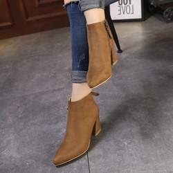 Shoespie Lace-Up Plain Pointed Toe Ankle Boots