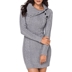 Shoespie Elegant Regular Women's Sweater Bodycon Dress