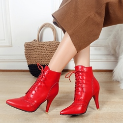 Shoespie Plain Lace-Up Front Pointed Toe Ankle Boots