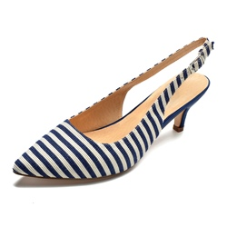 Shoespie Stripe Closed Toe Low-Cut Upper Low Heels