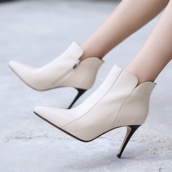 Shoespie Plain Side Zipper Square Toe Ankle Boots