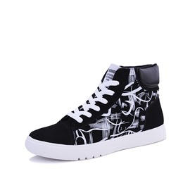 Shoespie Print Stripe Patchwork Athletic Shoes