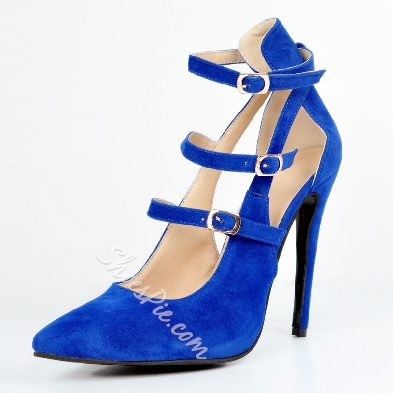 Shoespie Blue Suede Buckle Wrap Stiletto Heels