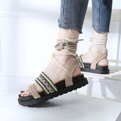 Suede Lace-Up Ankle Strap Open Toe Slipper