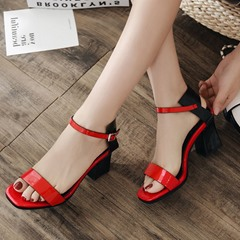 Buckle Color Block Chunky Heel Sandals
