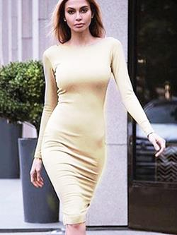Shoespie Fall Plain Pullover Women's Bodycon Dress