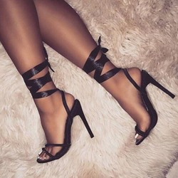 Lace-Up Ankle Strap Suede Stiletto Heels