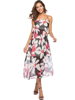 Shoespie Floral Falbala Print Women's Maxi Dress