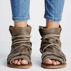 Lace-Up High Upper Open Toe Flat Sandals