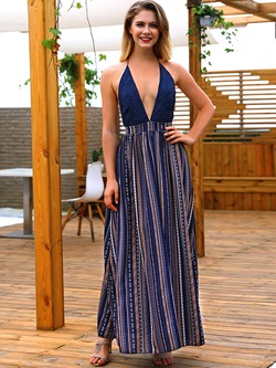 Shoespie Stripe V Neck Patchwork Women's Maxi Dress