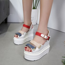 Open Toe Ankle Strap Buckle Wedge Sandals