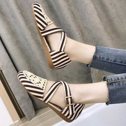 Casual Buckle Stripe Round Toe Women's Loafers