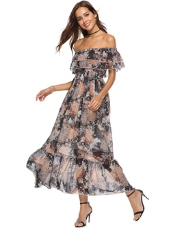 Shoespie Single Floral Print Women's Maxi Dress