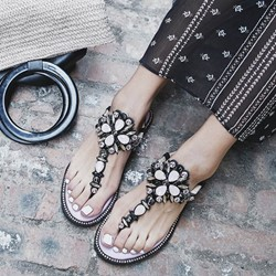 Rhinestone Thong Buckle Flat Sandals