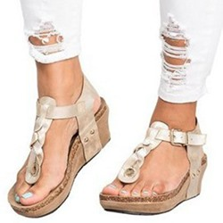 Shoepie Thong T-Shaped Buckle Wedge Heels