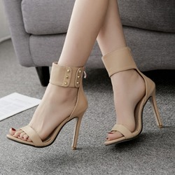 Rivet Zipper Heel Covering Stiletto Heels