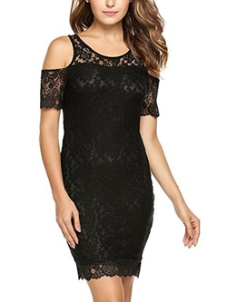 Shoespie Lace Off-The-Shoulder Pullover Women's Bodycon Dress