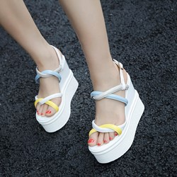 Buckle Ankle Strap Color Block Wedge Sandals